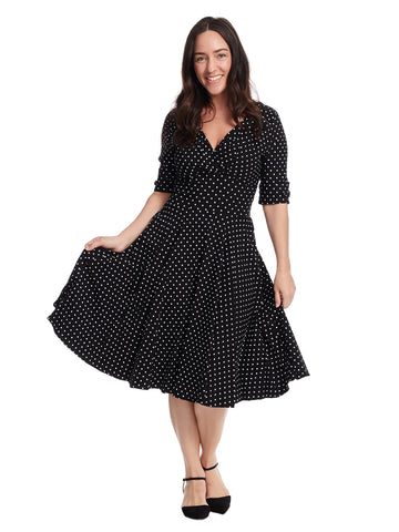 Delores Polka Dot Fit And Flare Dress