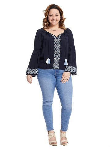 Embroidered Tassel Navy Top