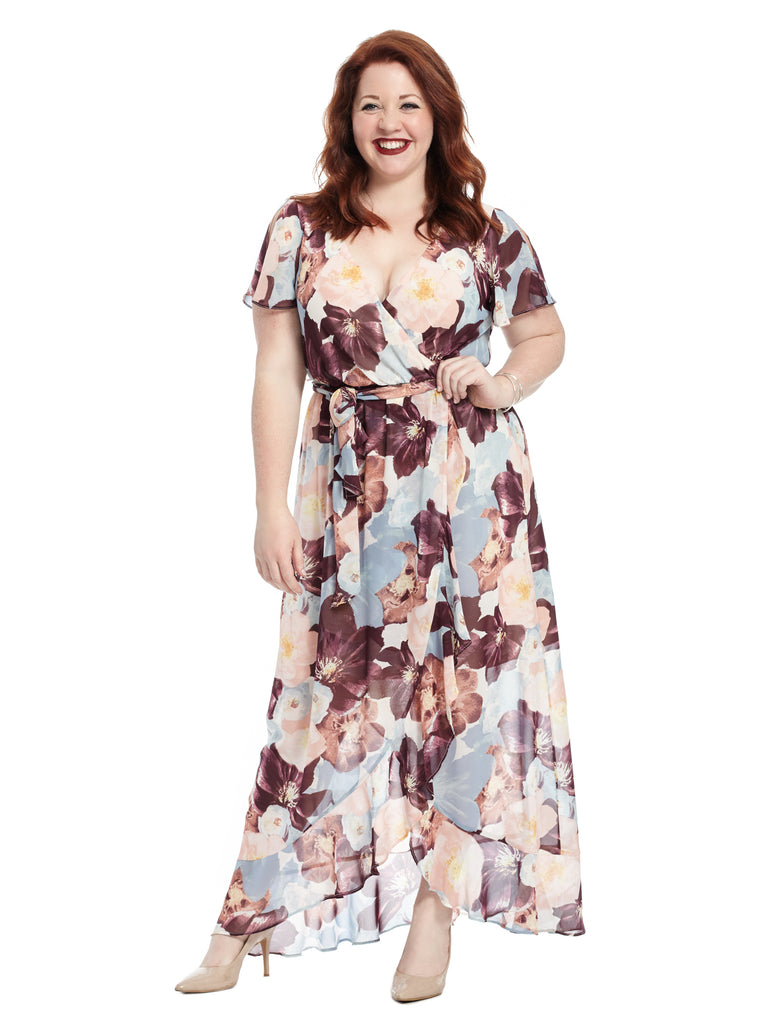 Short Sleeve Floral Faux Wrap Maxi With Tie Belt