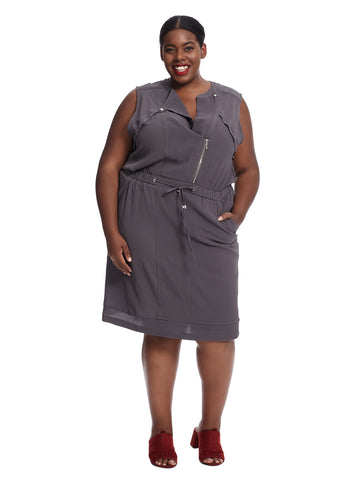 Sleeveless Front Zip Detail Grey Dress