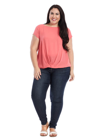 Twist Front Mixed Media Top In Coral