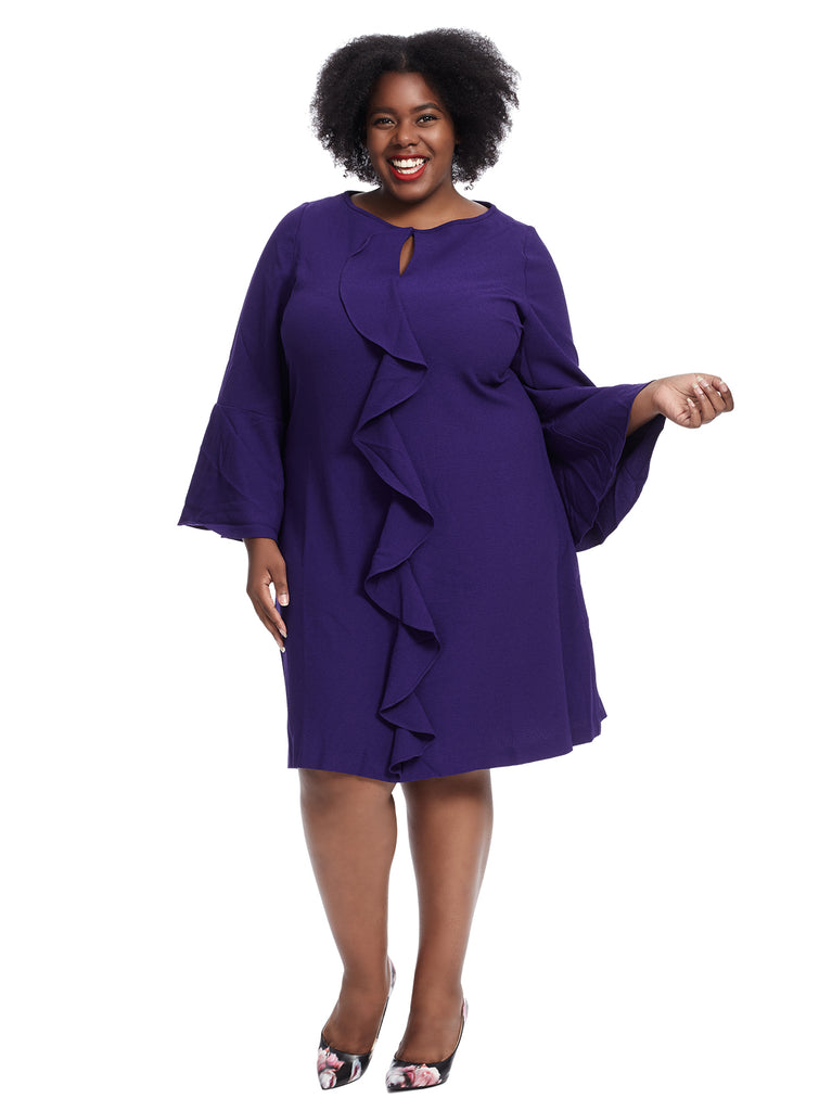 Bell Sleeve Ruffled A-Line Dress