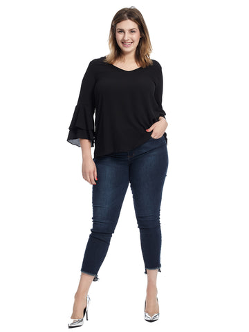 Layered Bell Sleeve Black Top