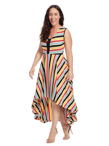 Technicolor Stripe Oceangoing Dress