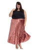 Velvet Pleated Skirt In Raspberry