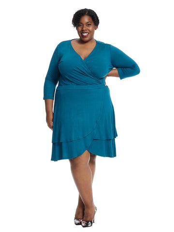 Layered Surplice Teal Dress