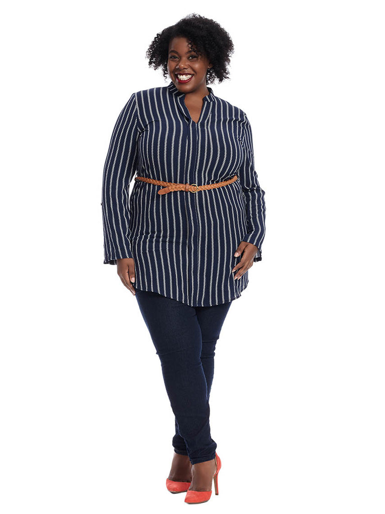 Belted Tunic In Navy Stripe