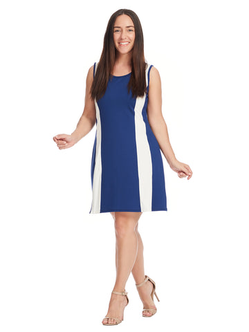 Colorblock Navy And White Fit And Flare Dress