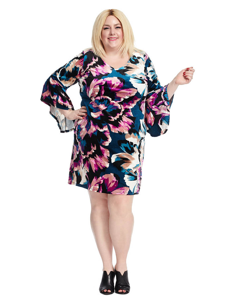 Shift Dress with Flutter Sleeve Detail in Floral Print