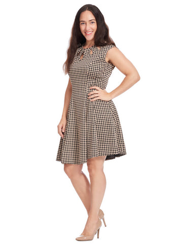 Keyhole Fit And Flare Dress In Houndstooth
