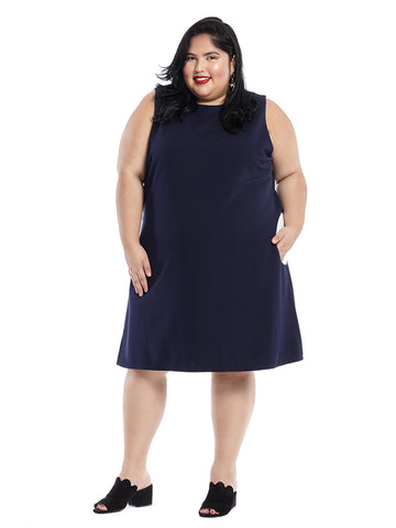 Circle Pocket Navy Fit And Flare Dress
