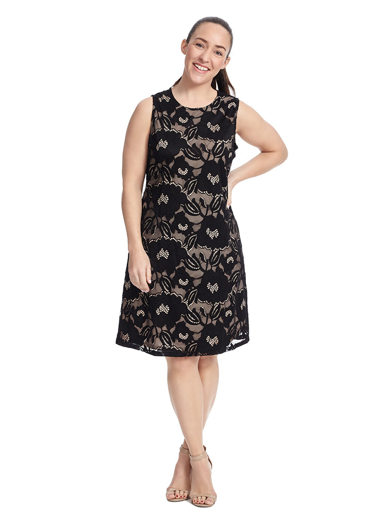 Sleeveless Floral Lace Dress In Black And Nude