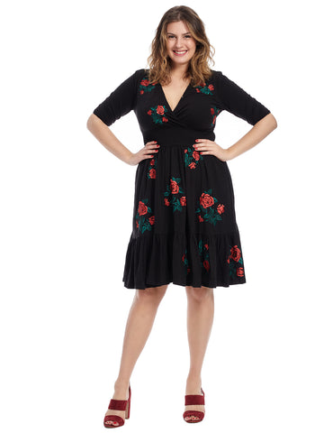 Knee Length Embroidered Rose Dress