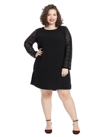 Shift Dress With Lace Sleeves In Black