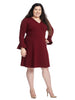 V-Neck Wrap Dress With Sleeve Detail In Burgundy