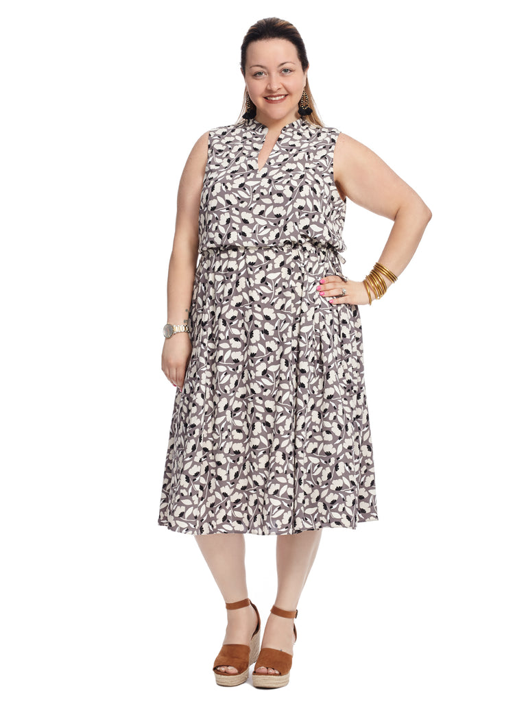 Collarless Printed Midi Dress