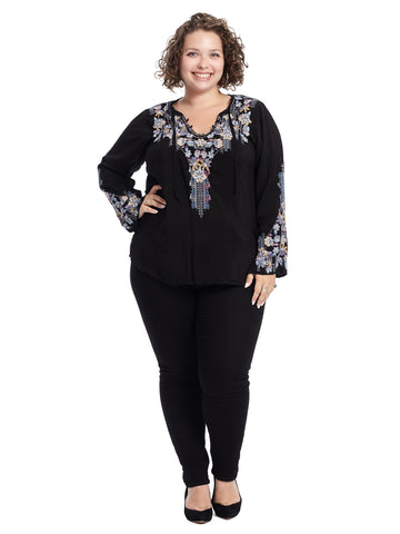 Embroidered Black Tanya Blouse
