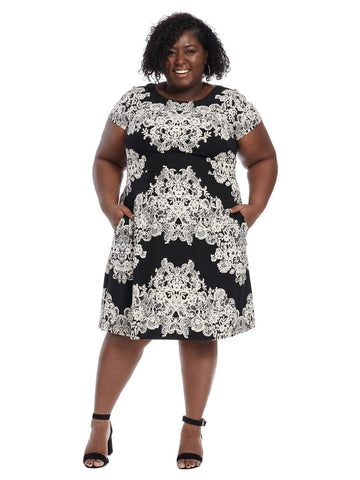 Black & Ivory Placement Print Dress