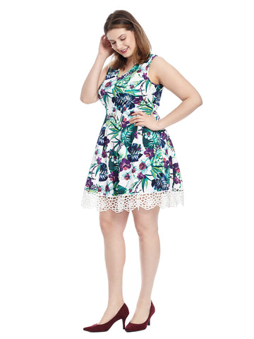 Tropical Floral Scuba Dress With Lace Hem