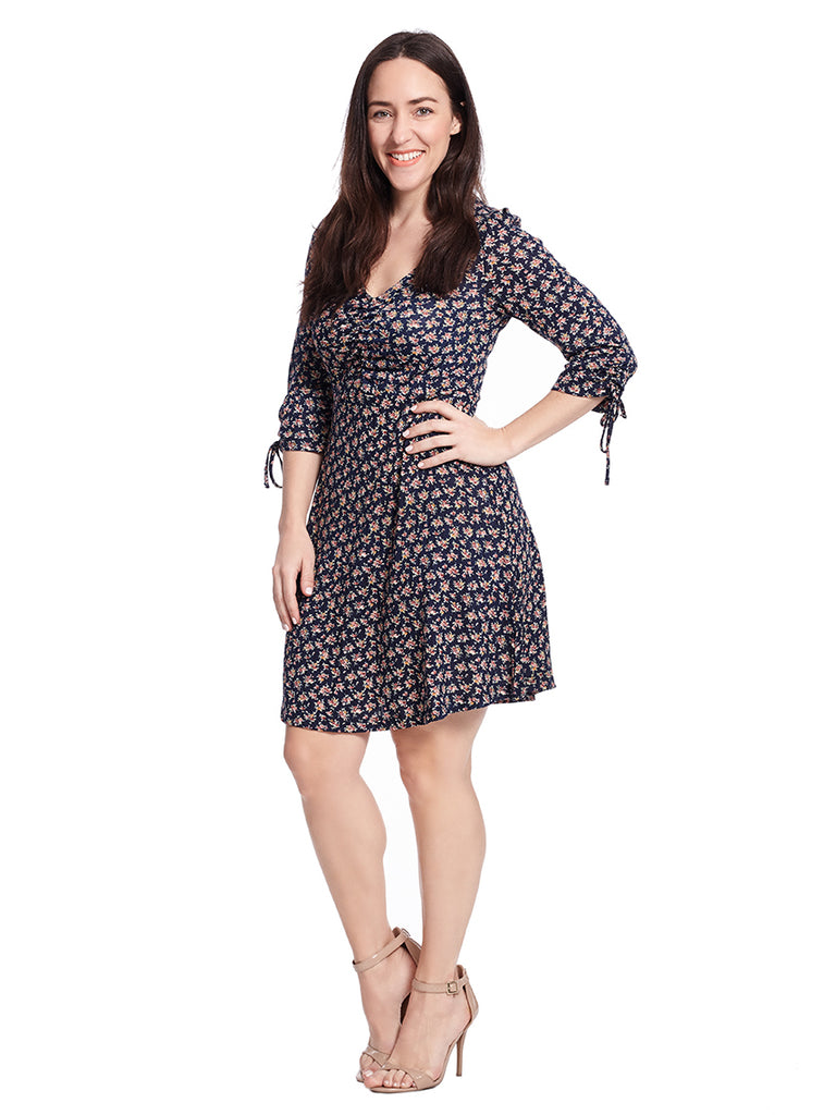 V-Neck Fit And Flare Dress In Navy Floral Print