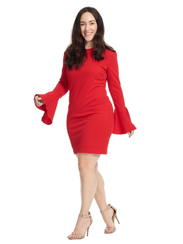 Textured Bell Sleeve Shift Dress In Deep Cherry