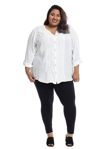 White Pintuck Shirt With Roll Tab Sleeves