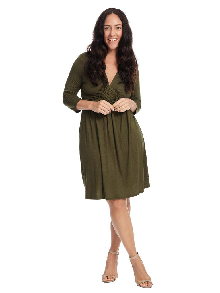 Olive Green Fit And Flare Dress