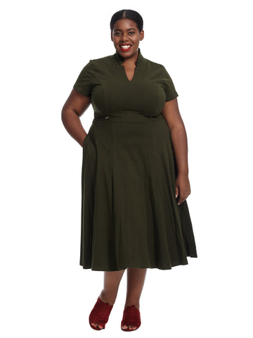 Short Sleeve Zip Detail Deep Green Dress