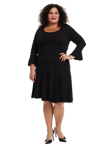 Seam Detail Black Fit And Flare Dress