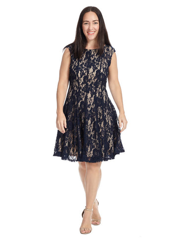 Sleeveless Lace Detail Dress In Nude And Navy
