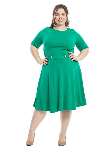 Short Sleeve Fit And Flare Dress In Emerald