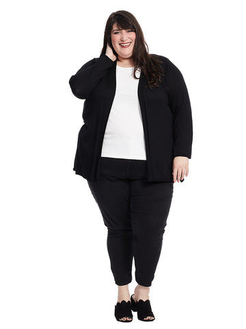 Black Cardigan With Pleated Back Detail