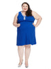 Textured Cobalt Fit And Flare Dress