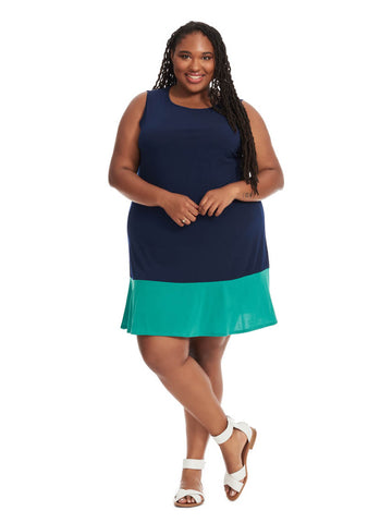 Colorblock Dress In Navy And  Teal