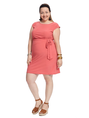 Front Tie Coral Sheath Dress