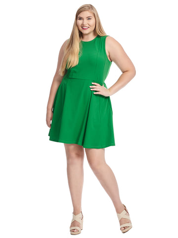 Sleeveless Green Fit And Flare Dress