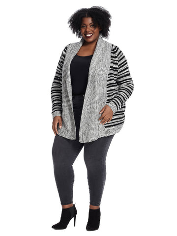 Long Sleeve Open Faced Cardigan With Striped Detail In Grey