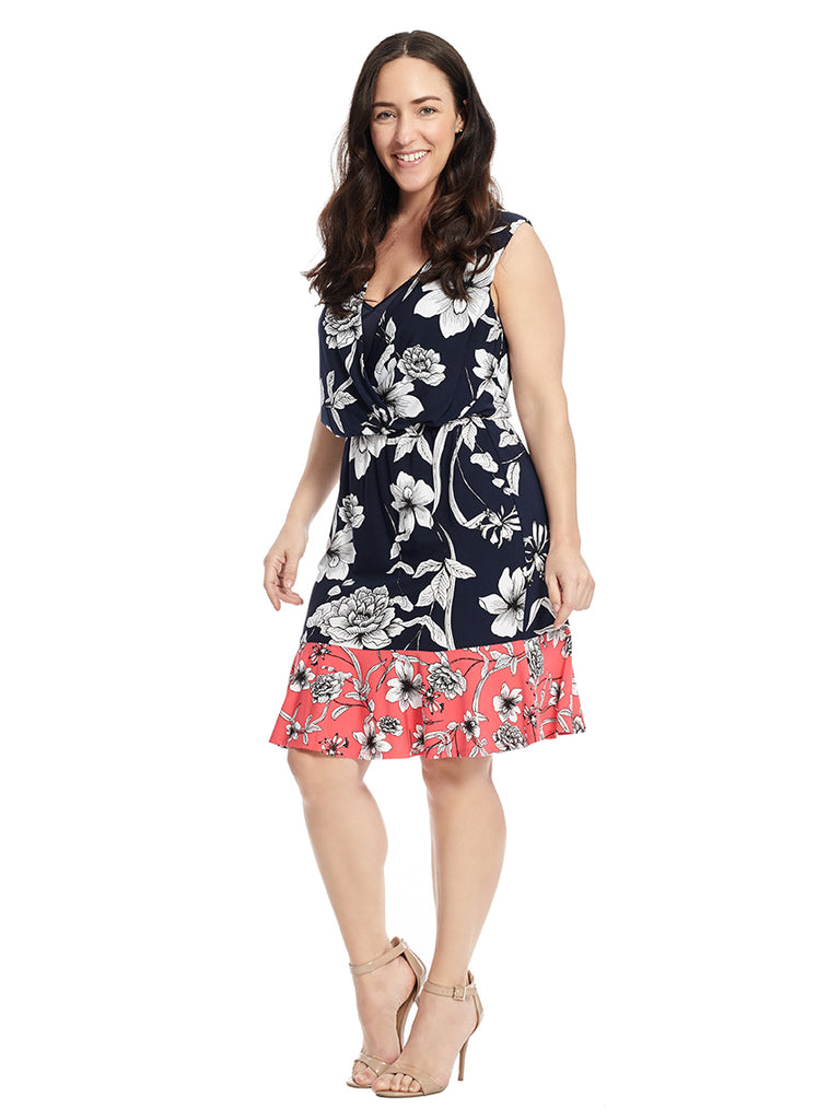 Sleeveless Colorblock Hem Dress in Floral Print