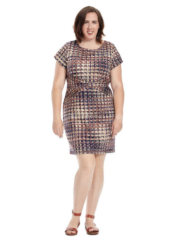 Short Sleeve Tweed Print Sheath
