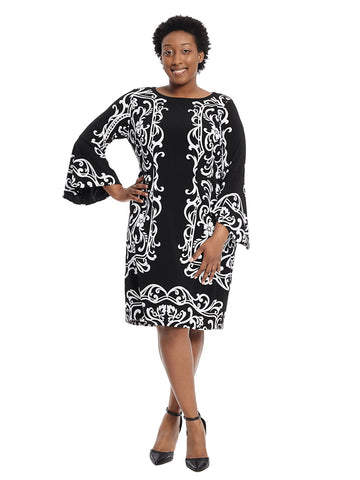 Bell Sleeves Black And White Mirror Print Sheath Dress