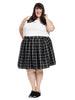 Cher Skirt In Black And White Window Pane Plaid