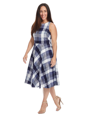 Plaid Cotton Fit And Flare Dress