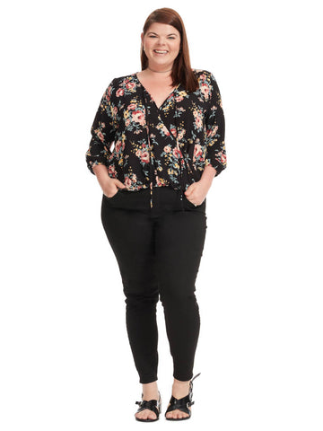 Floral Pullover Blouse In Black Floral Print
