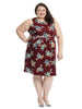 Burgundy Floral Print Fit And Flare Dress