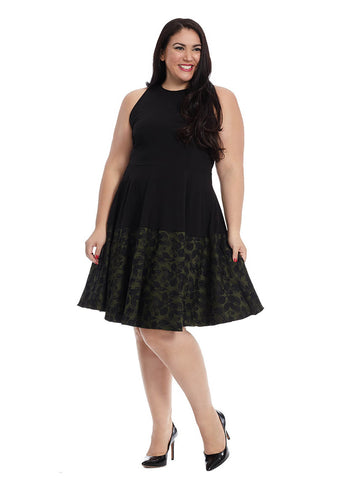 Claire Combo Dress In Black And Olive Floral Jacquard