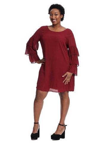 Shift Dress With Pleated Sleeve Detail In Dark Berry