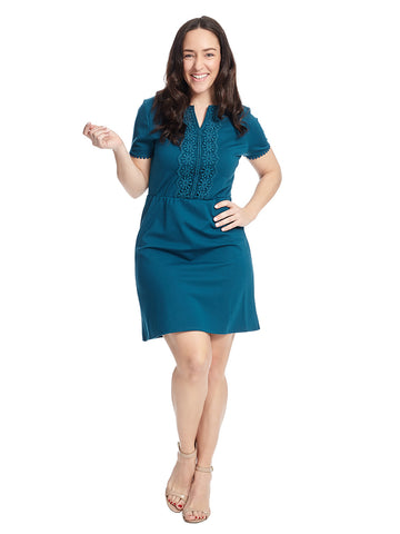 Short Sleeve Notch Neck Dress In Teal