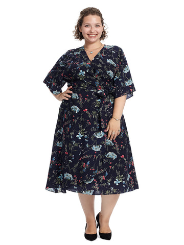 Berry Fern Faux Wrap Dress