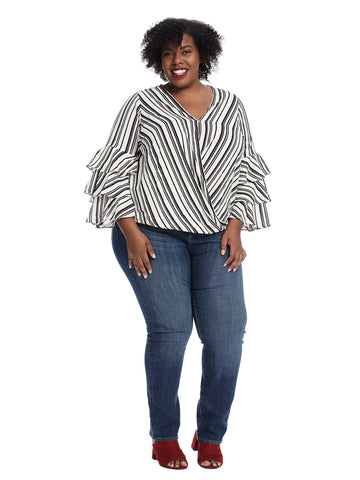 Foldover Striped Top With Tiered Sleeves