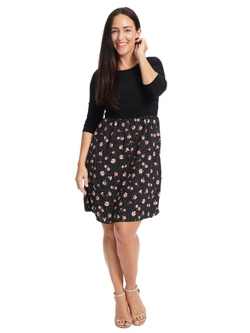 Twofer Black Floral Fit And Flare Dress